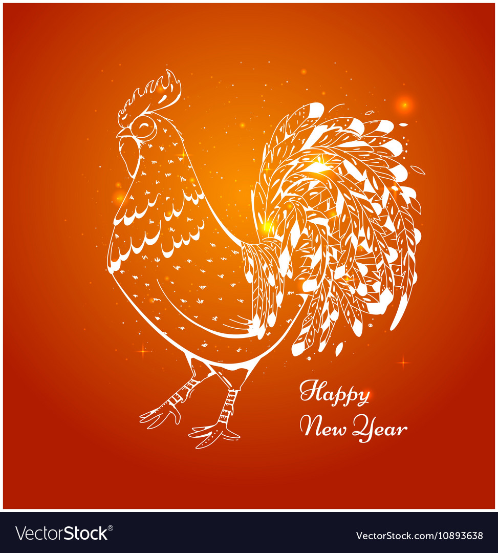 New year card with a rooster in 2017