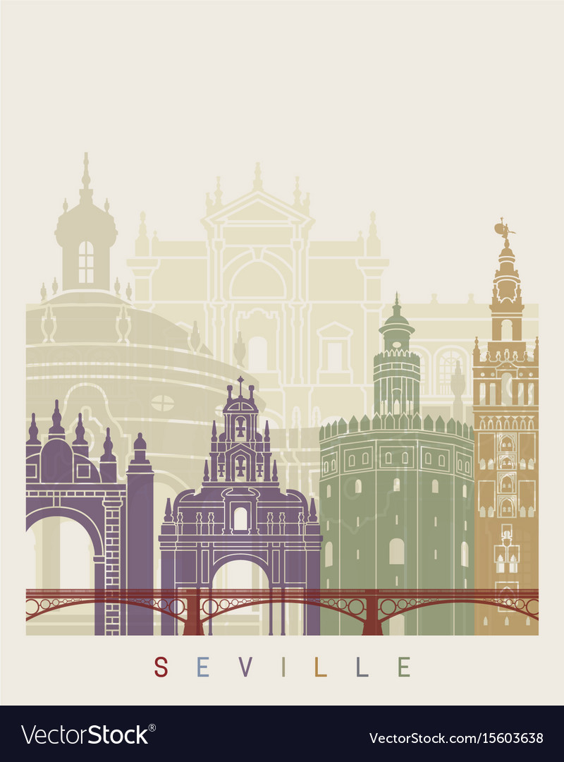Seville v2 skyline poster vector image