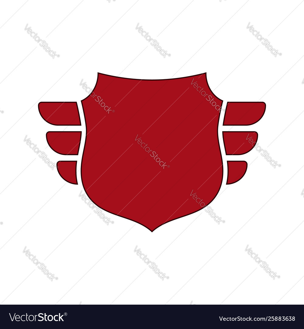 Shield red icon outline shield simple wings