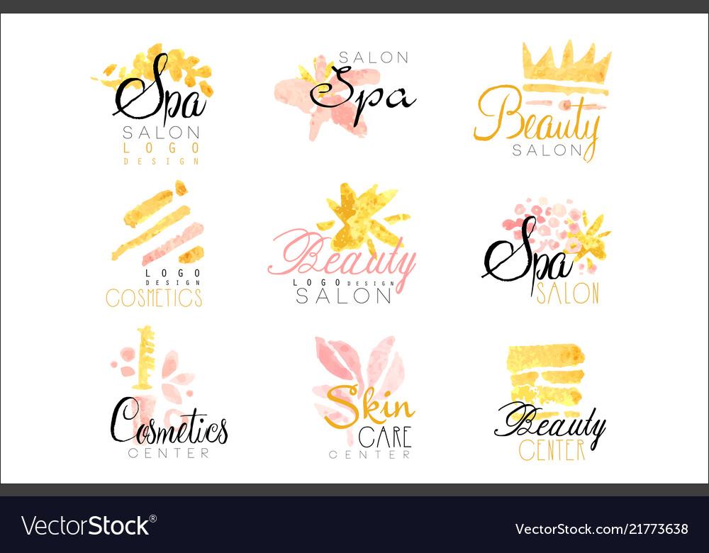 Spa healthy beauty studio set for label design