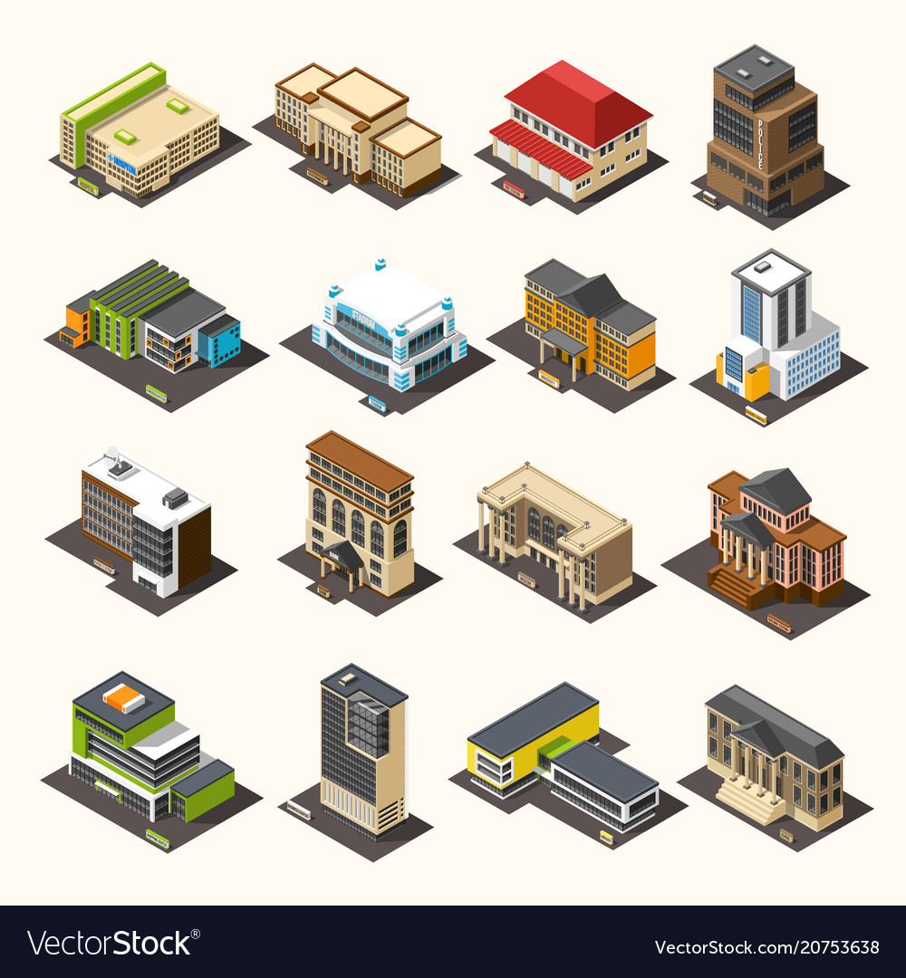 Urban buildings isometric collection