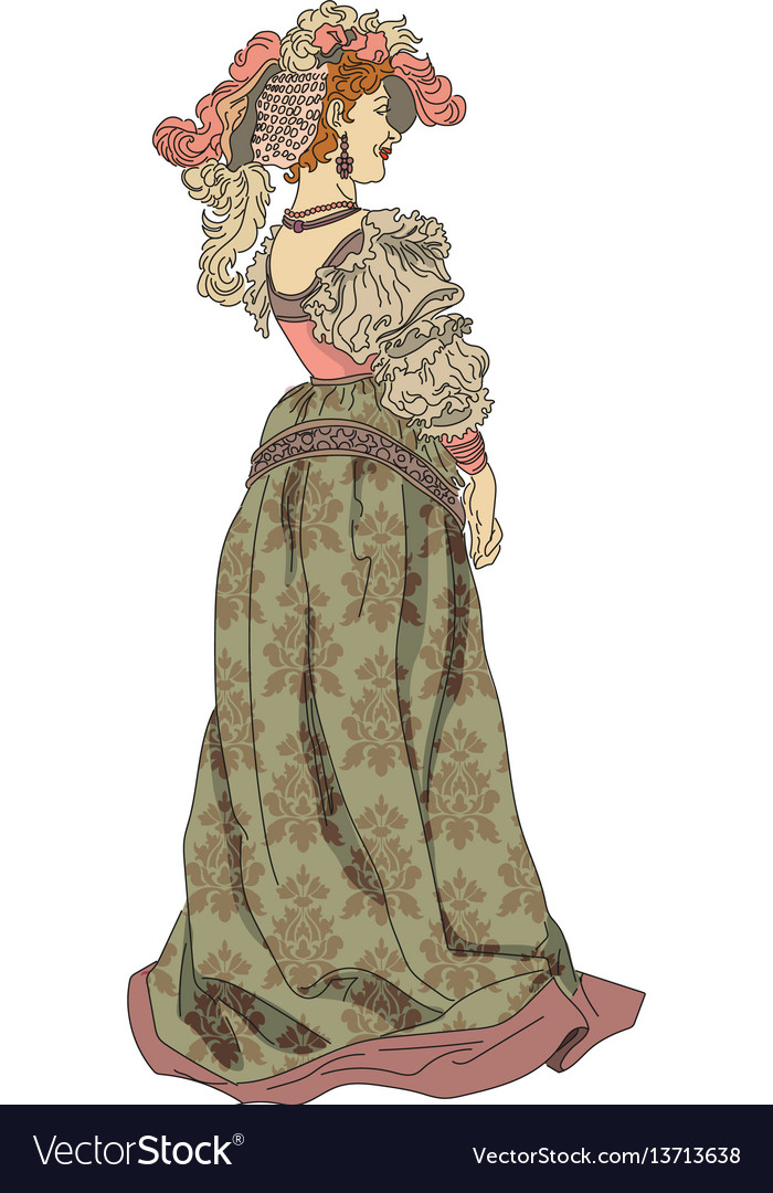 Woman from nineteenth century in a dress
