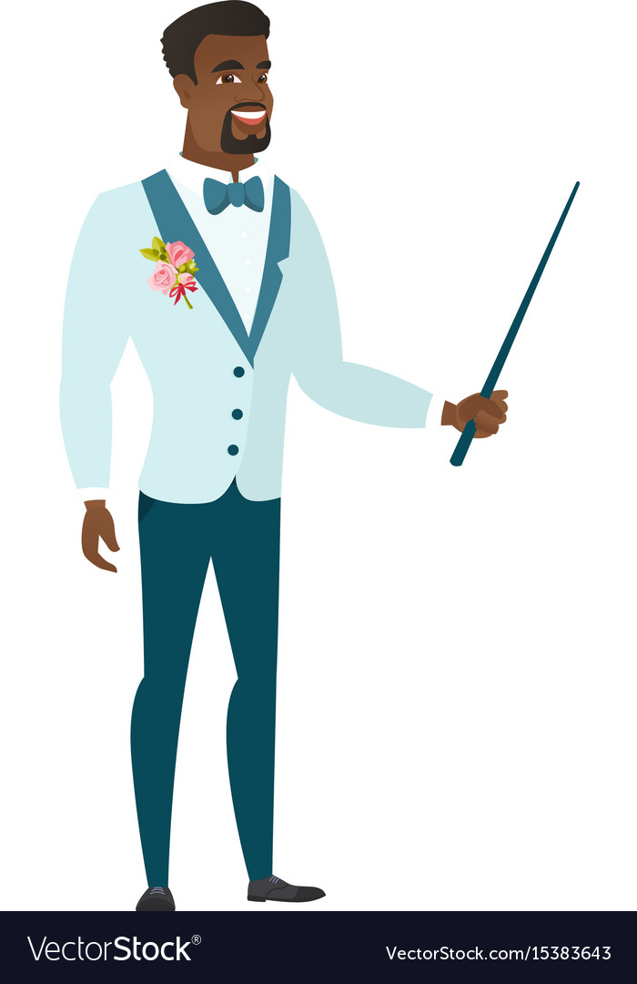 African-american groom holding pointer stick vector image