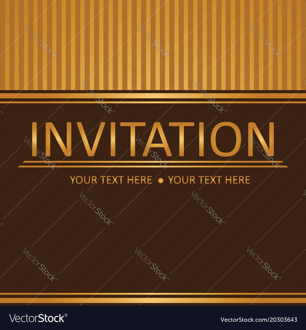 Art Brown Golden Background Invitation Card