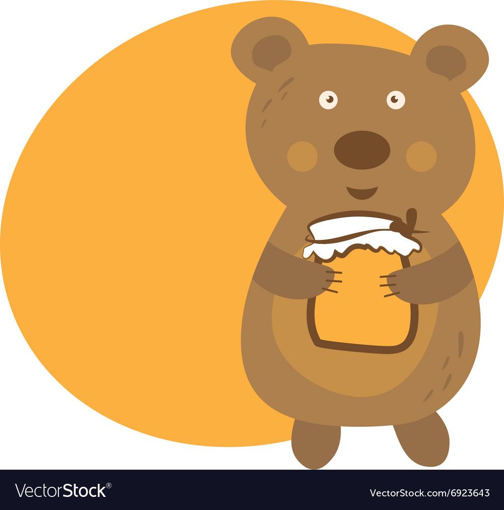 Cartoon cute bear with pot of honey