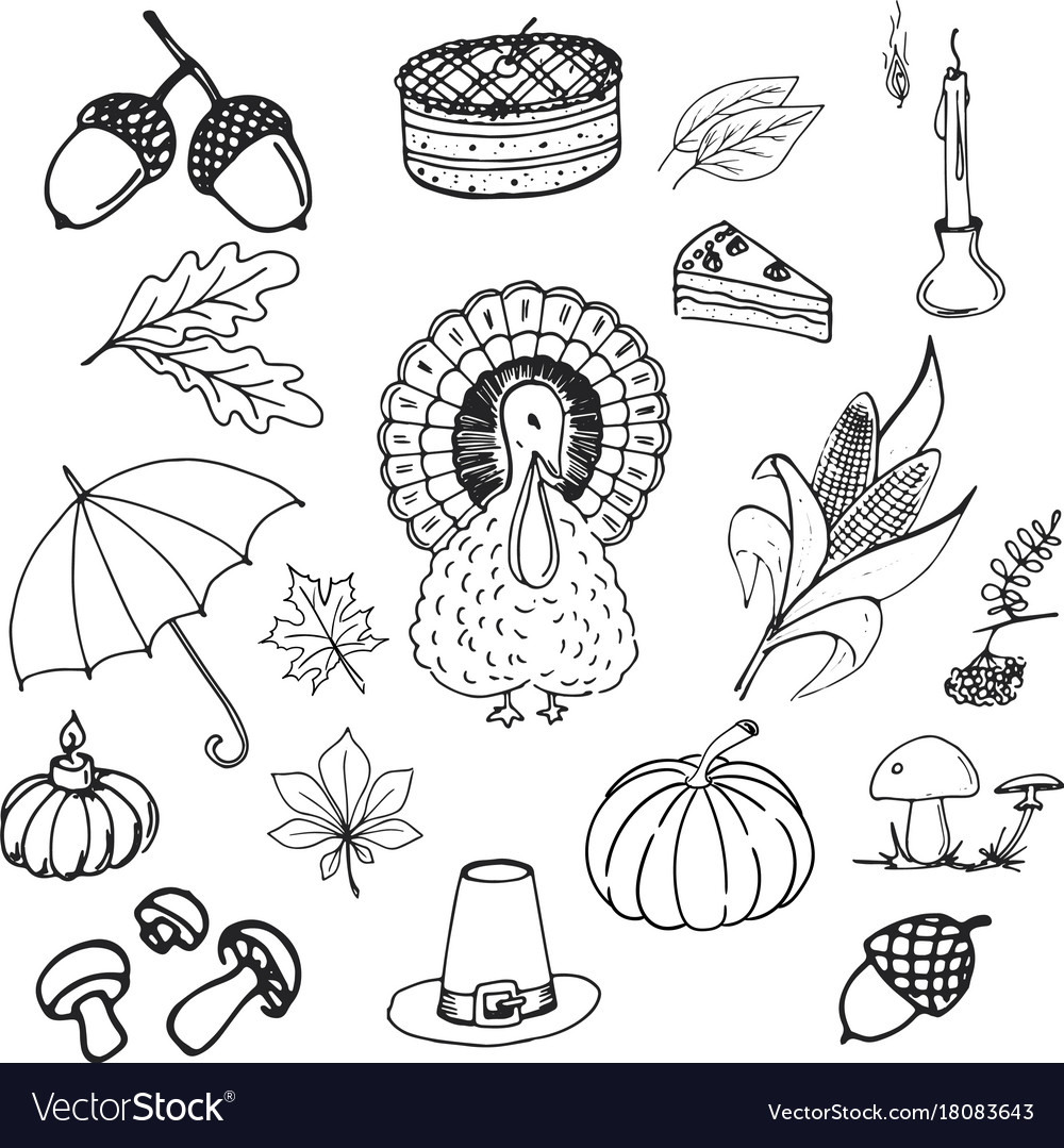 Collection of elements for thanksgiving day