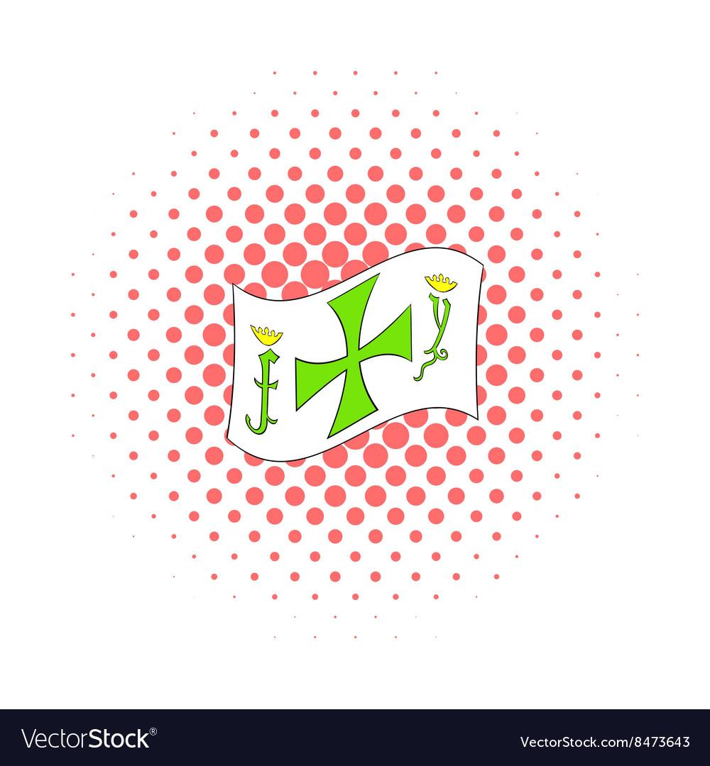 Columbus day symbol icon comics style vector image