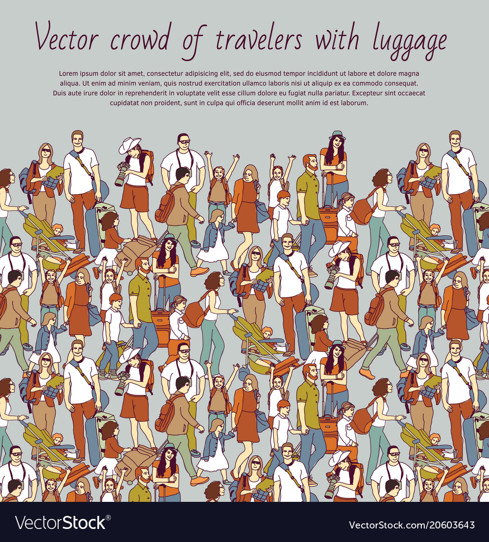 Crowd color travelers with luggage