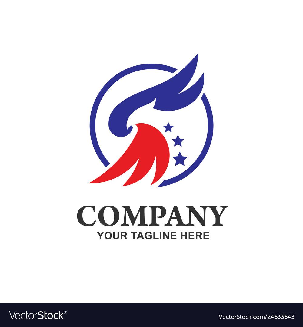 Eagle head with circle logo template