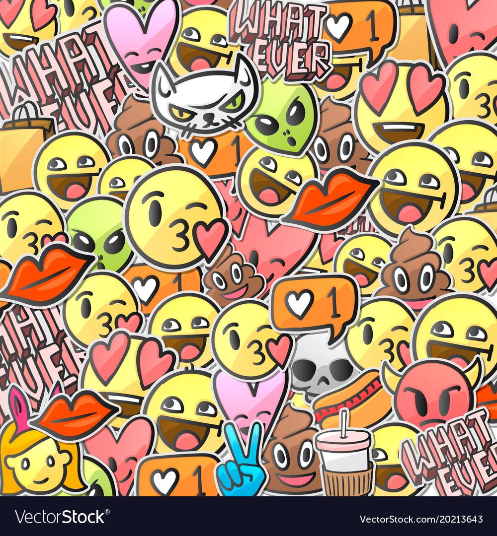 Emoji smiley faces background emoticon stickers vector image