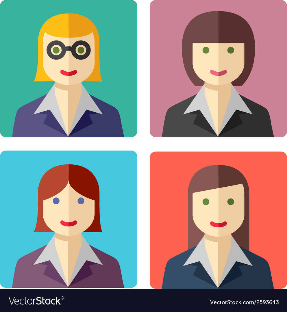 Flat colorful businesswoman avatar icons