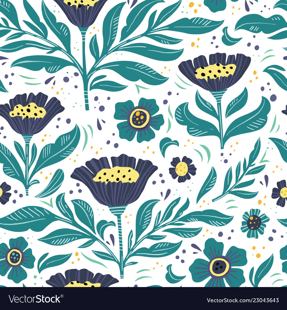 Floral flat hand drawn seamless color pattern