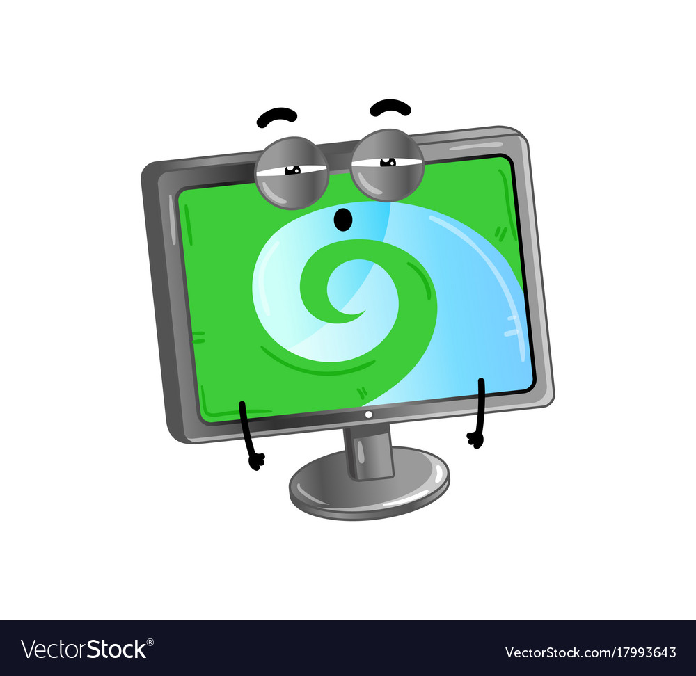 Funny lcd monitor cartoon character