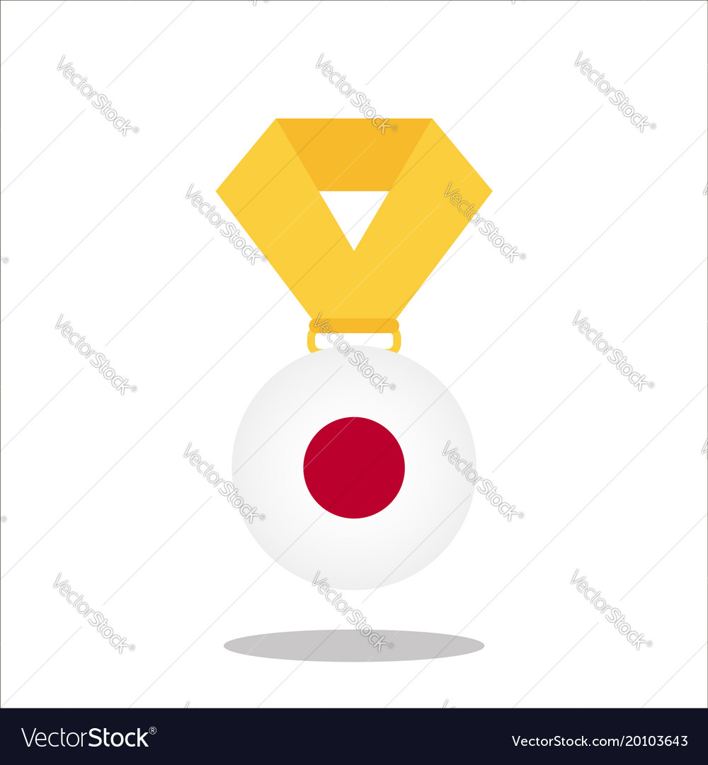 Medal with the japan flag isolated on white