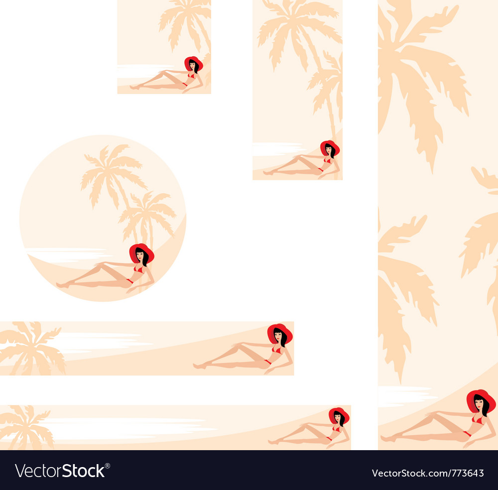 Palm trees and woman banner