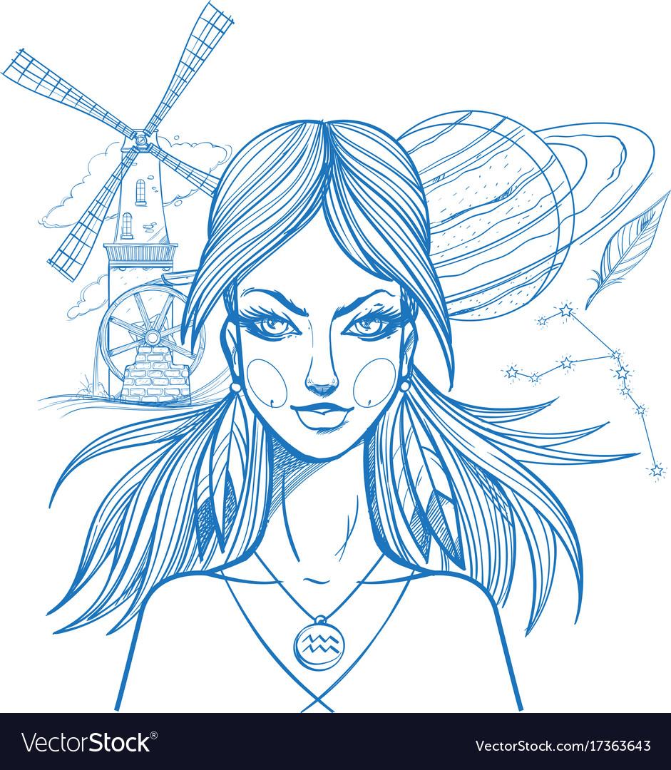 Portrait of the girl symbolizes the zodiac sign
