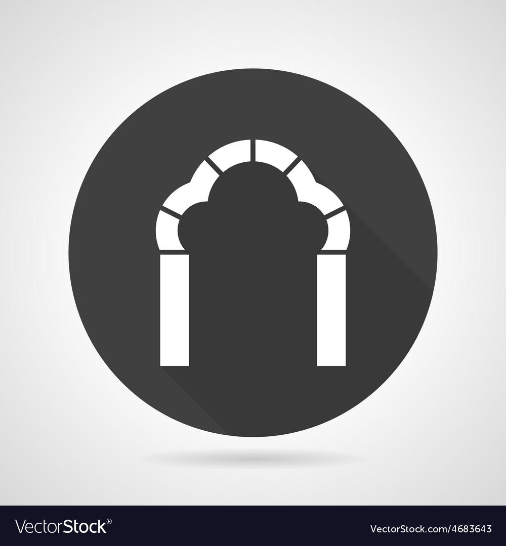 Trefoil arch black round icon