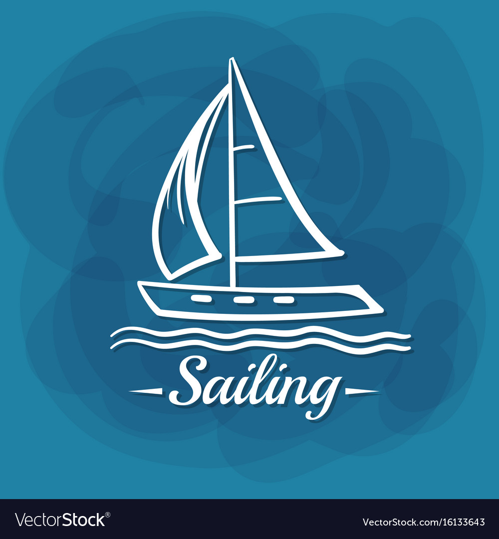 White lettering sailing sailboat