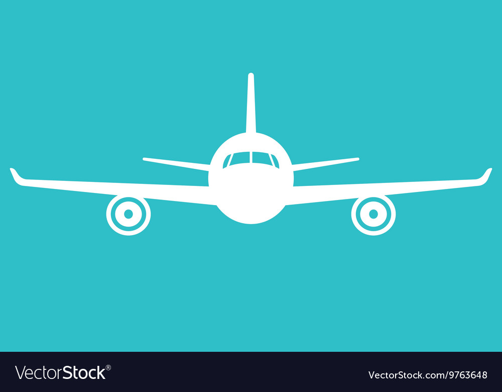 Airplane icon Front view flying aircraft