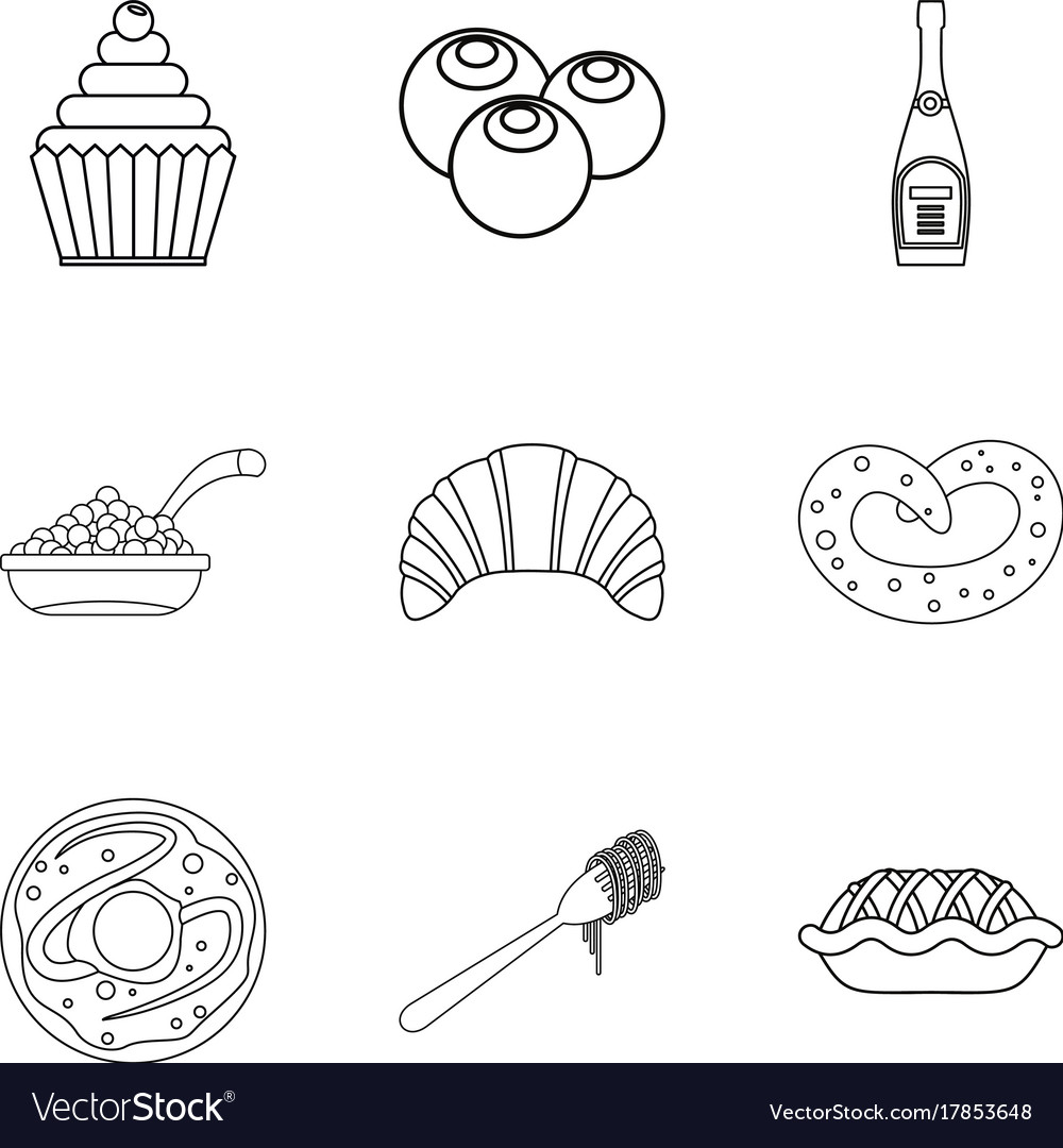 Buster icons set outline style vector image