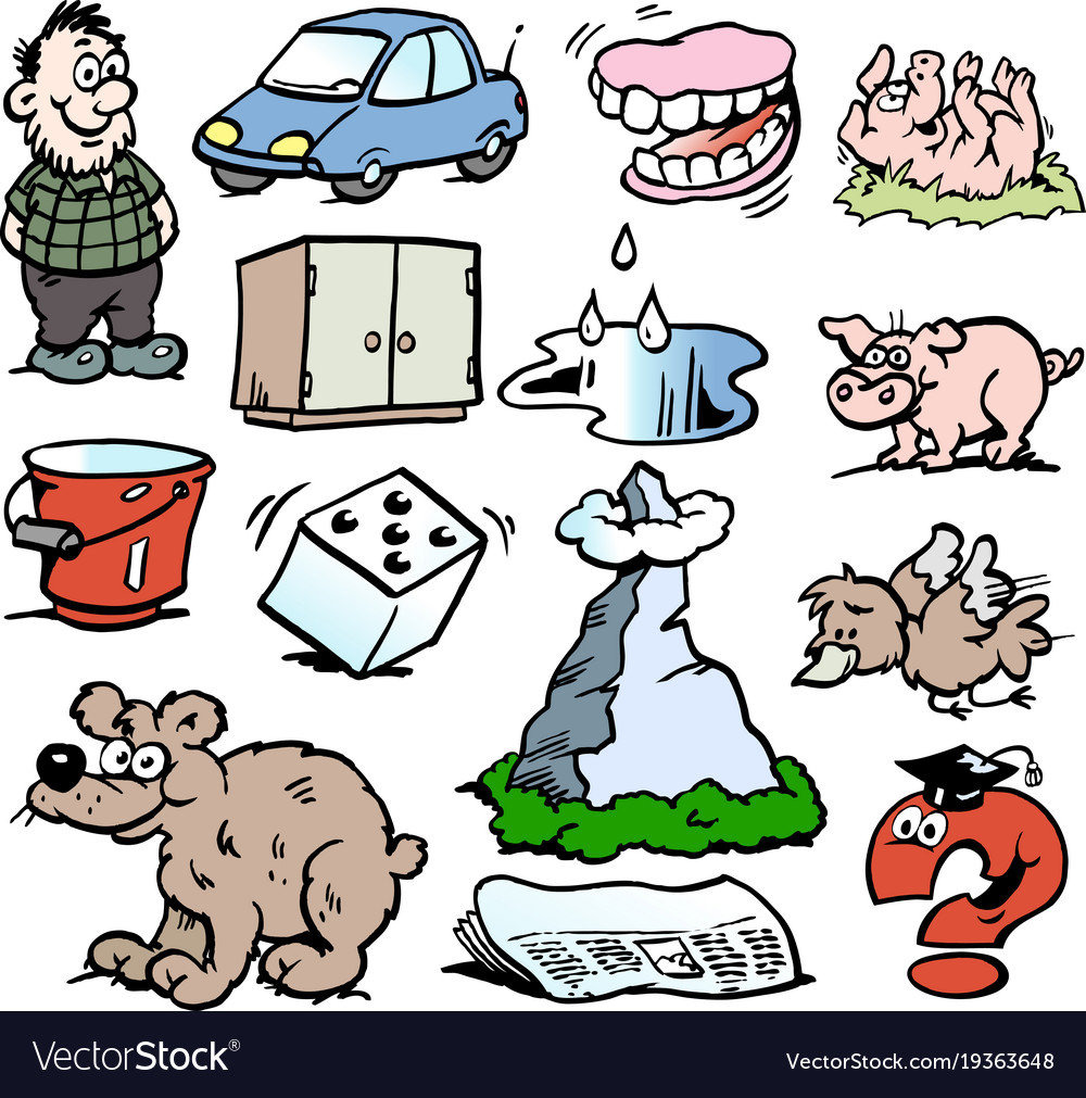 Cartoon of a set of funny small drawings or icons