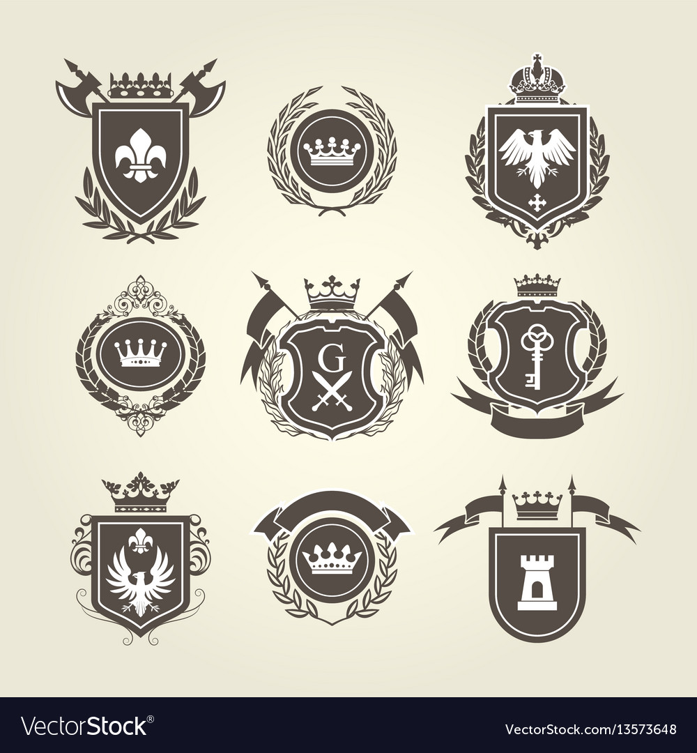 Coat arms and knight blazons - heraldic shields