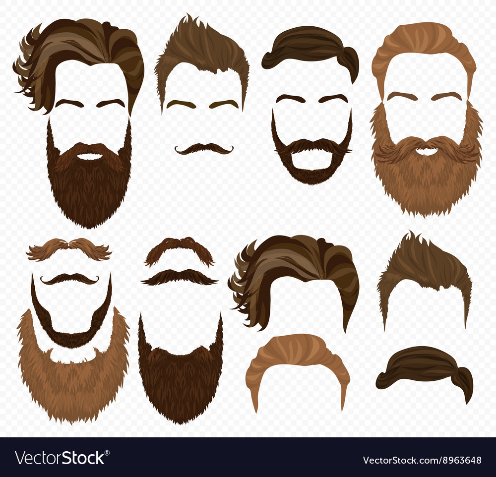 Man hair mustache and beards collection Hipster