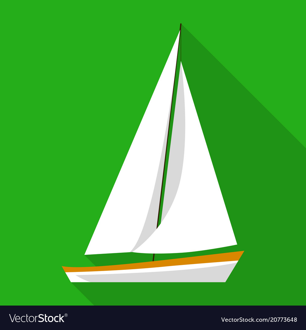 Sailing boat icon flat style