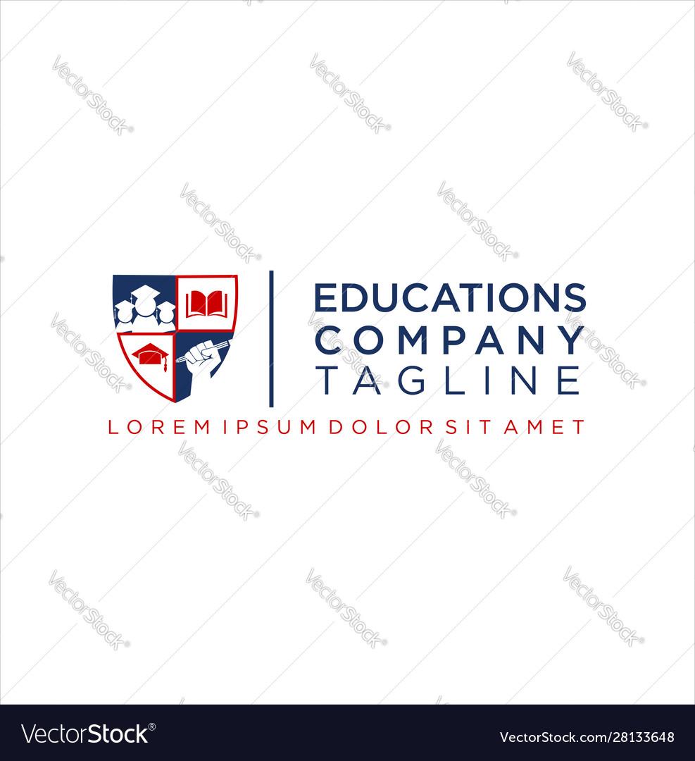 Shield education logo icon design