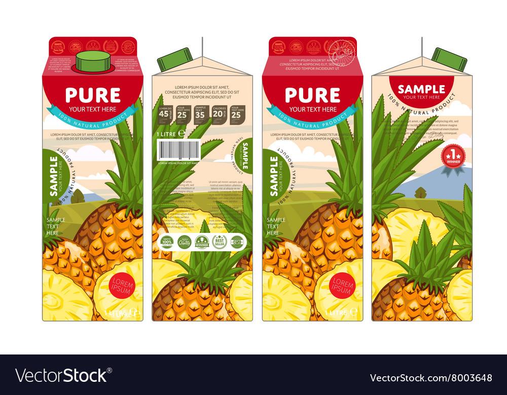 template packaging design pineapple juice vector image