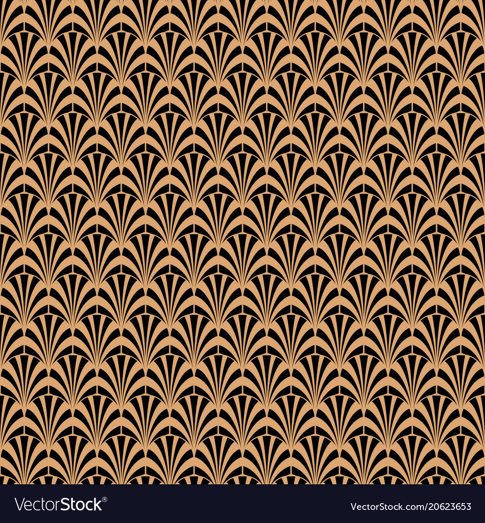 Art deco black and gold geometric style pattern