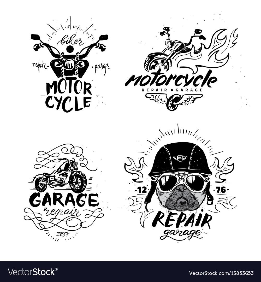 Biker pug dog set of vintage motorcycle emblems