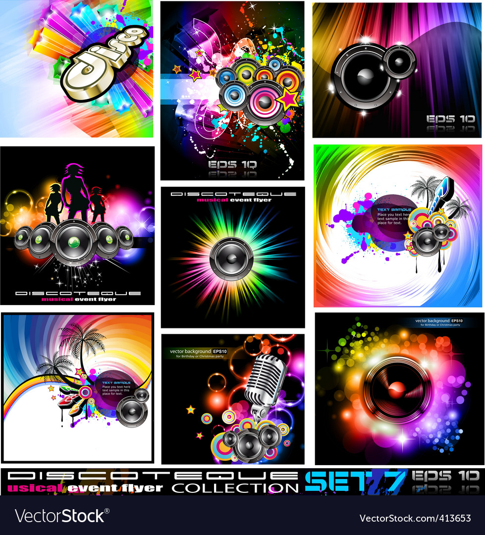 Disco flyers vector image