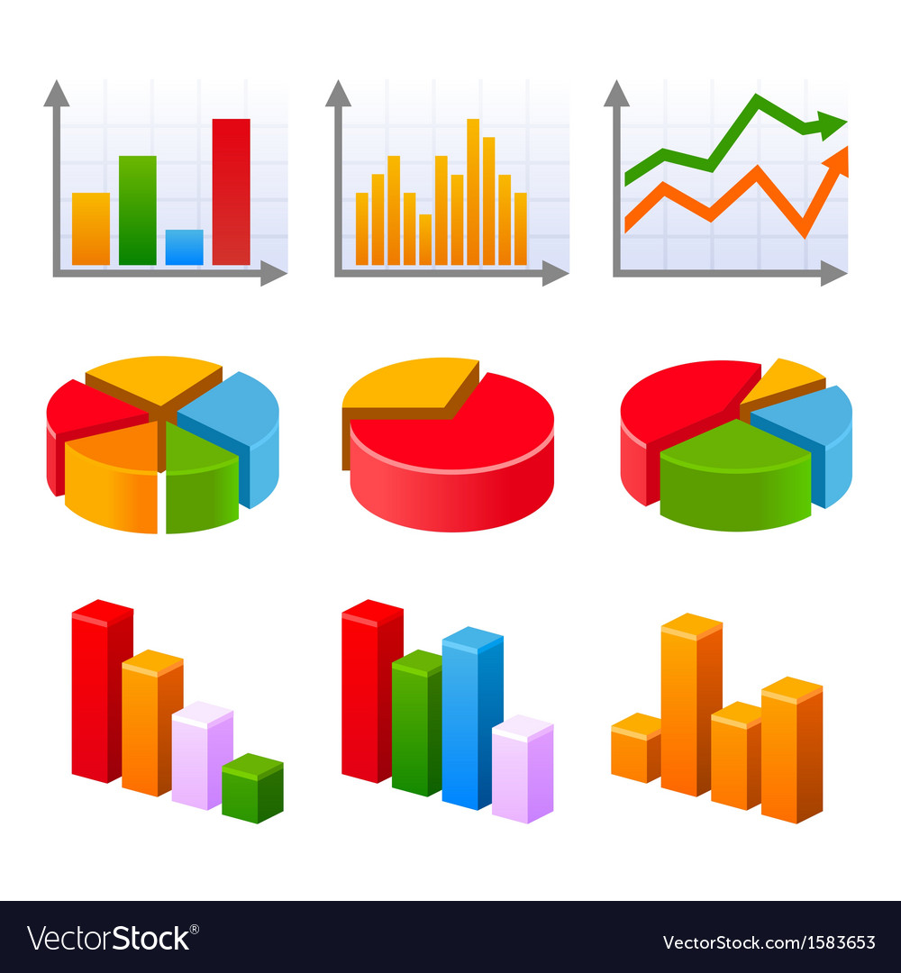 Infographic set with colorful charts and diagram Vector Image