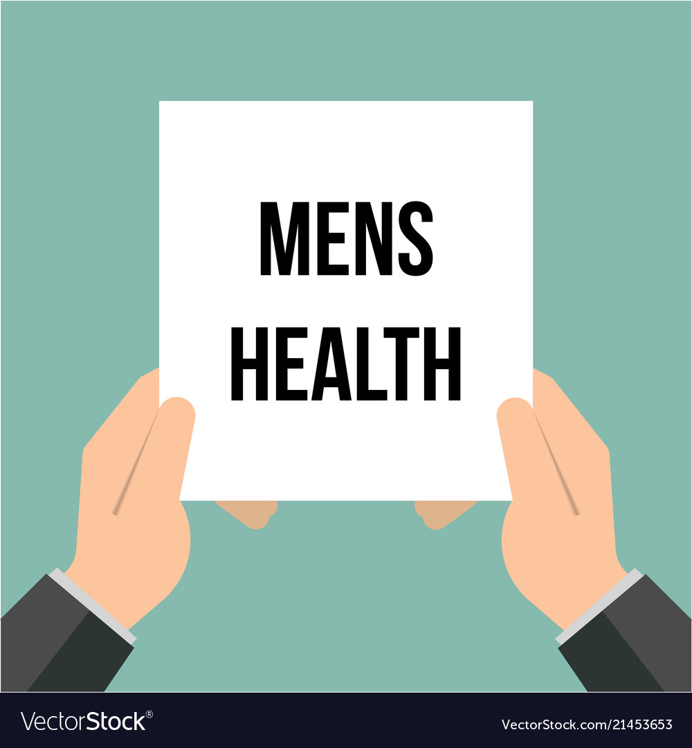 Man showing paper mens health text