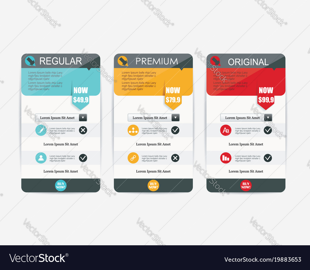 Price list widget with 3 payment plans for online Vector Image – Online Shopping Sites With Payment Plans