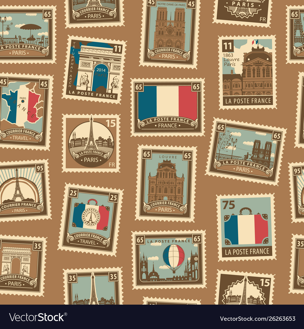 Seamless pattern with french postage stamps vector