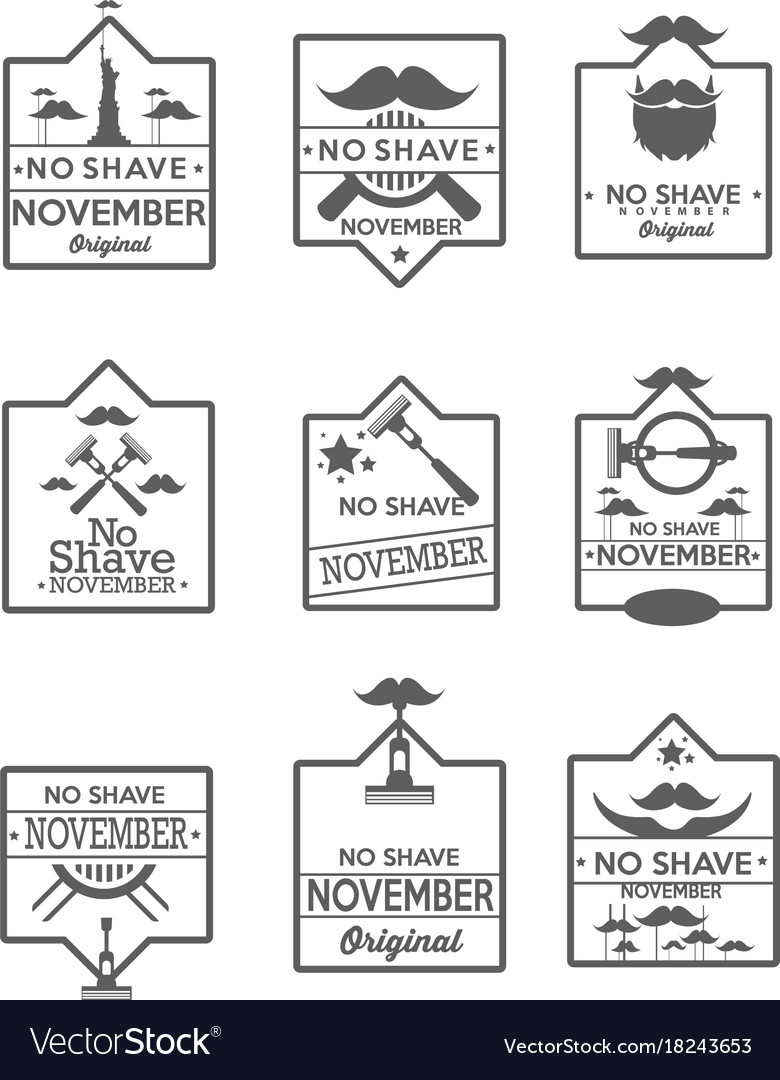 Set of no shave november labels
