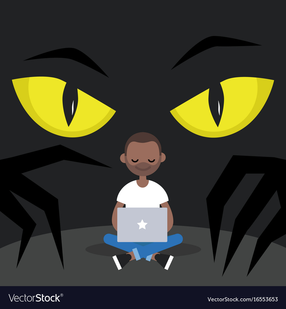 Stealing data conceptual big yellow eyes spying