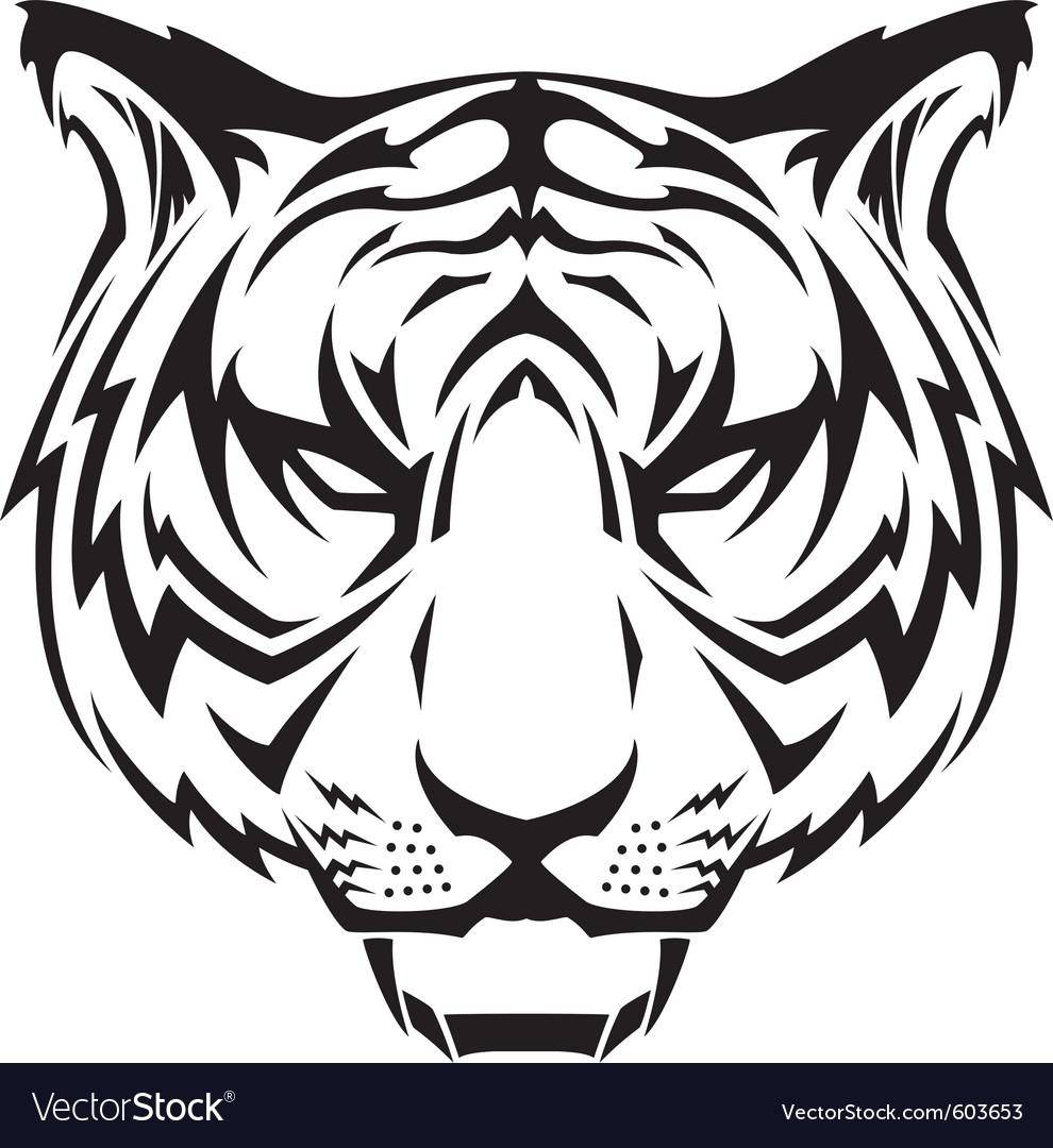 Tattoo tigers head vector image