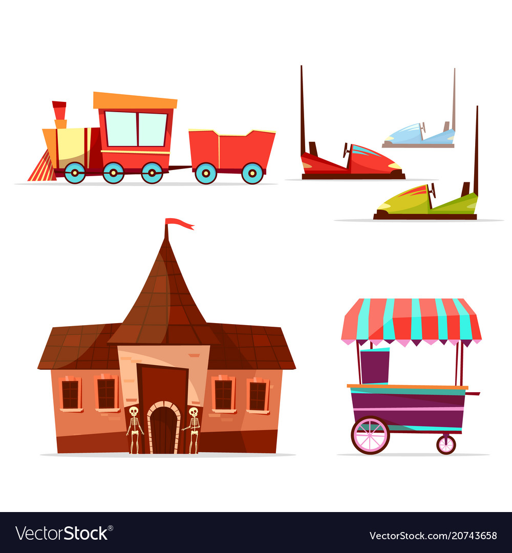 Cartoon amusement park attractions set vector image