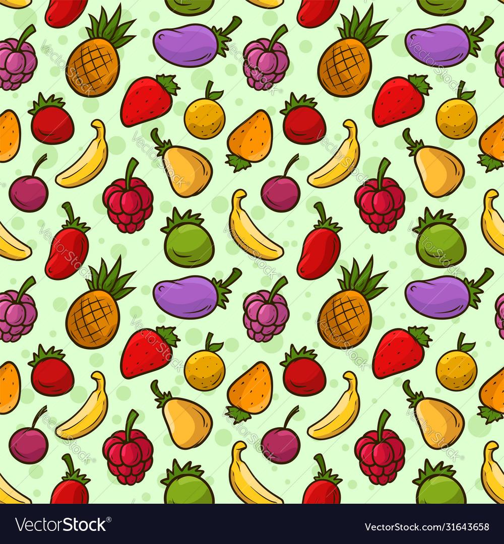 Cartoon summer fruits seamless pattern