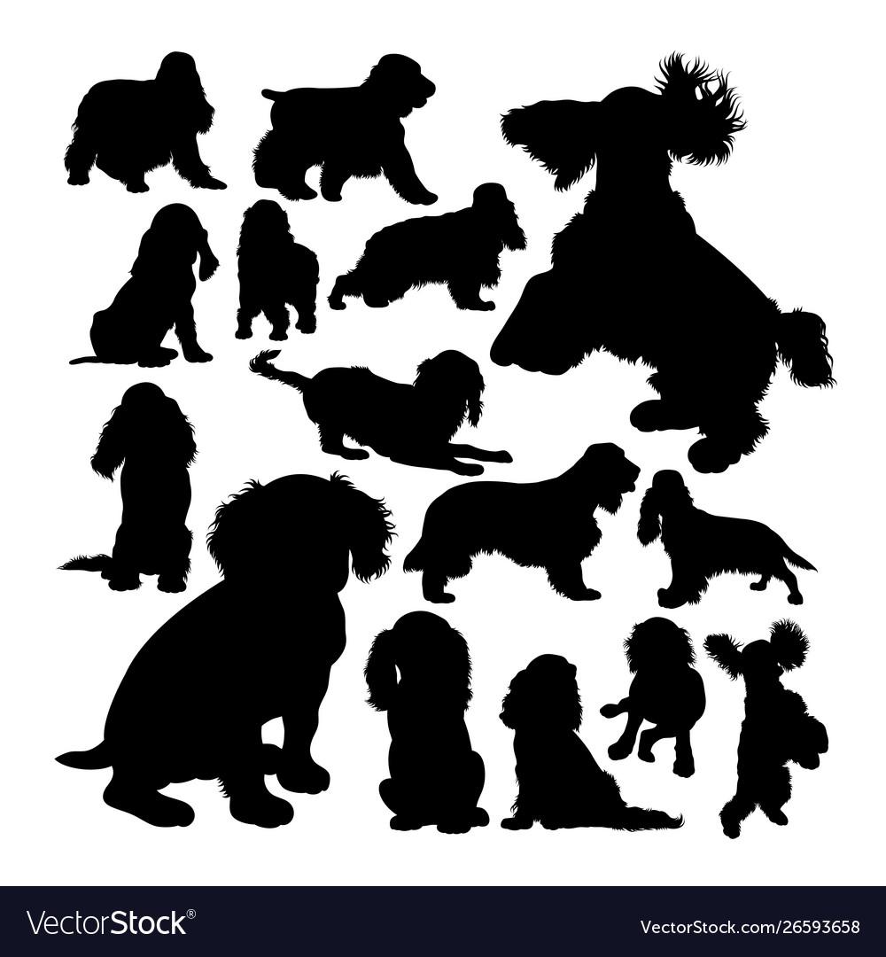 Cocker spaniel dog animal silhouettes