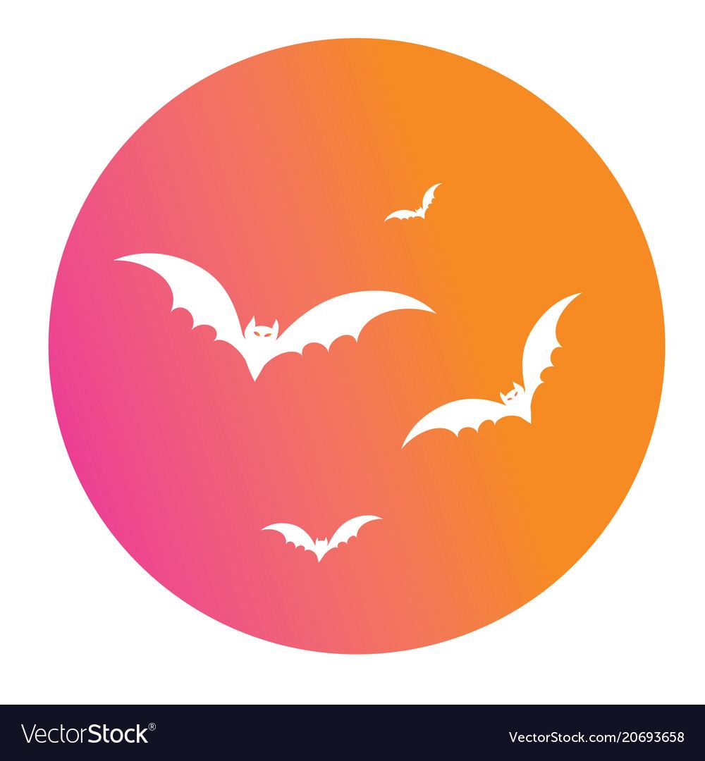 Colorful gradient halloween design element bat vector image