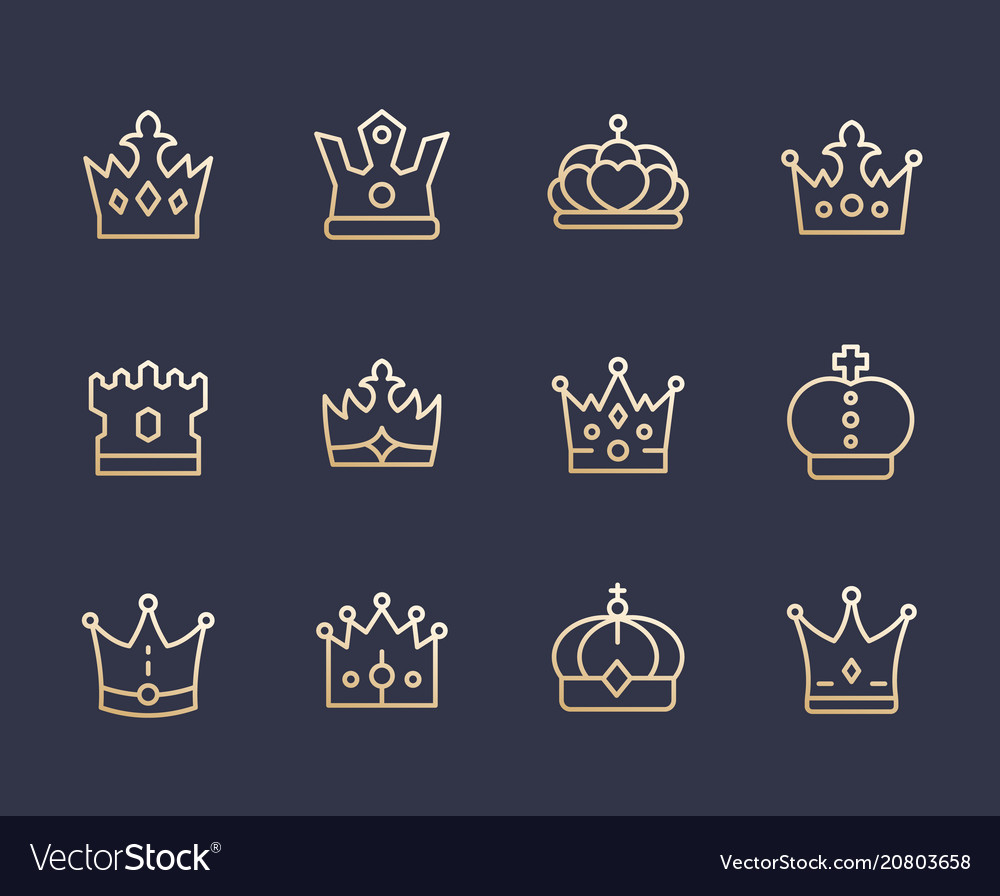 Crowns line icons royalty king monarch queen