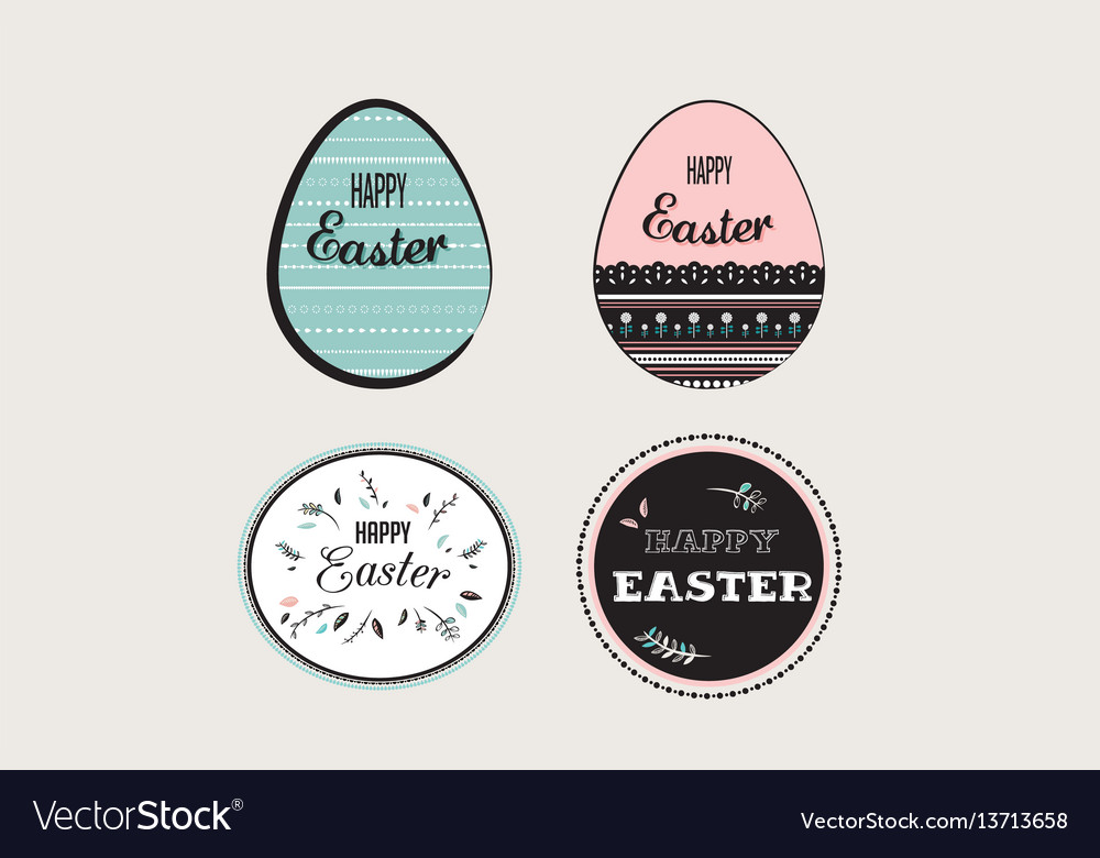 Easter elements with decorated egg and floral