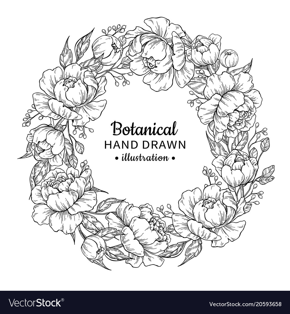 Flower wreath vintage frame drawing peony vector image