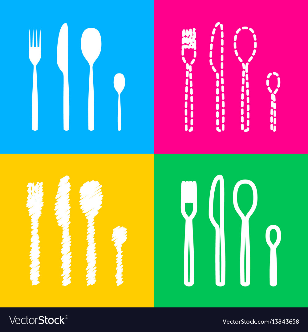 Fork spoon and knife sign four styles of icon on