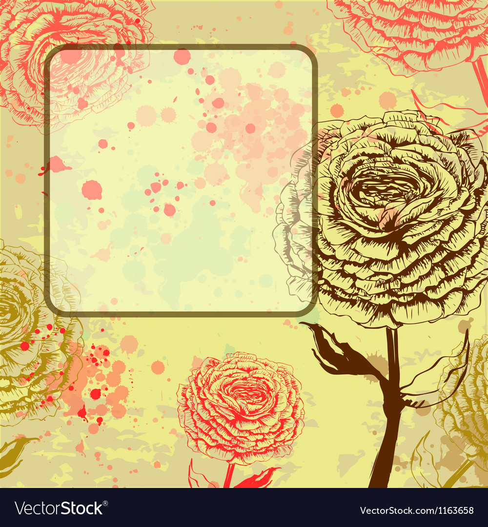 Grungy rose background with frame