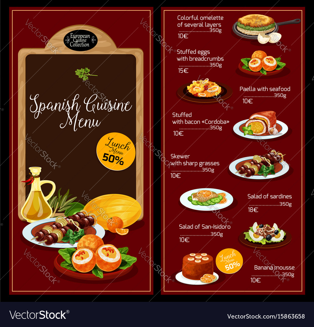 lunch menu template for spanish cuisine royalty free vector